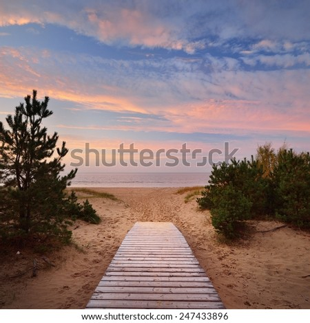Baltic sea shore and a road through the sand dunes - stock photo