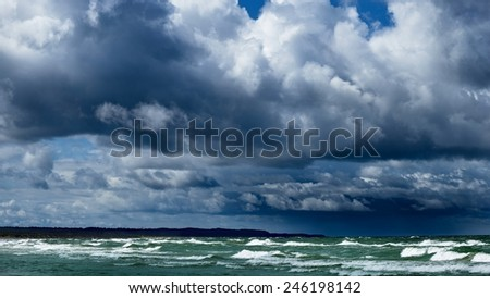 Baltic sea shore in Latvia in a stormy weather - stock photo