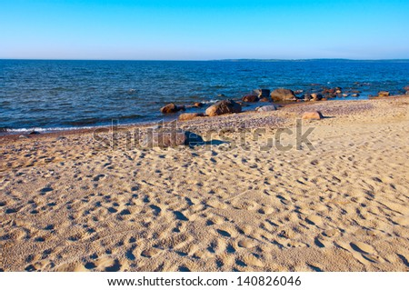 Baltic sea, stones, and sand beach. Paldiski in Estonia - stock photo
