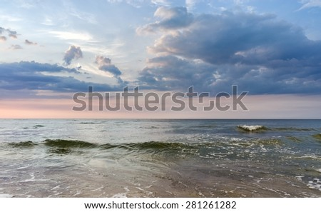 Baltic sea sunset - stock photo