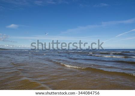 Baltic sea waves in Juramal. Latvia. - stock photo