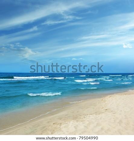 Baltic Sea white sand beach - stock photo