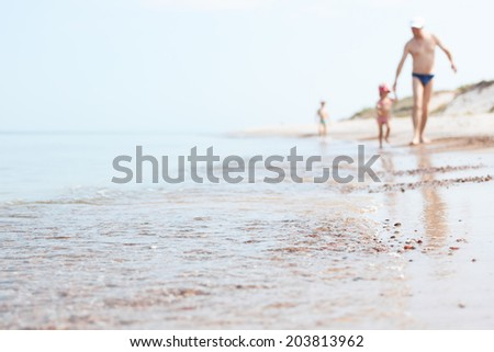 Baltic seaside and family - stock photo
