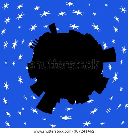 Baltimore circular skyline in winter with snow illustration - stock photo