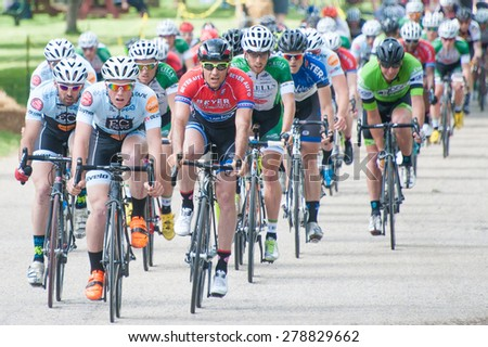 BALTIMORE, MARYLAND - MAY 17: Cyclists compete in the elite men's competition at BikeJam on May 17, 2015 in Baltimore, Maryland - stock photo