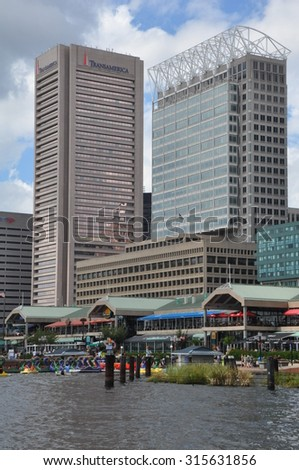 BALTIMORE, MARYLAND - SEP 1: Baltimore World Trade Center and other at the Inner Harbor in Baltimore, Maryland, on Sep 1, 2014. The Harbor is a historic seaport, tourist attraction and landmark. - stock photo