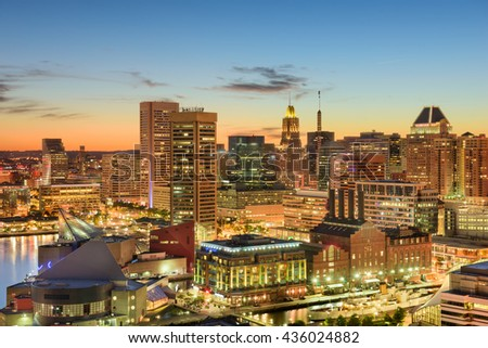 Baltimore, Maryland, USA downtown cityscape at dusk. - stock photo