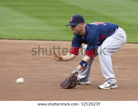 BALTIMORE - MAY 1: Dustin Pedroia of the Boston Red Sox takes ground balls before a game at Camden Yards on May 1, 2010 in Baltimore, Maryland