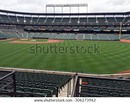 BALTIMORE, MD-AUGUST, 2015:  View of the right field seating at the Baltimore Orioles stadium at Camden Yards.