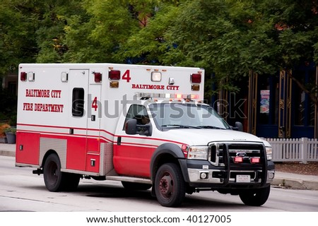 BALTIMORE, MD - SEPTEMBER 9: An ambulance is dispatched to aid an emergency recently in Baltimore.  Photo taken on September 9, 2009 in Baltmore, MD.