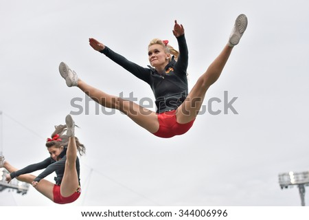 BALTIMORE - OCTOBER 24: The University of Maryland cheerleaders perform during the NCAA football game against Penn State October 24, 2015 in Baltimore.  - stock photo