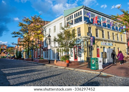 BALTIMORE-OCTOBER 18: The Waterfront Promenade at Fells Point, a popular tourist destination on October 18 2015 in Baltimore. - stock photo