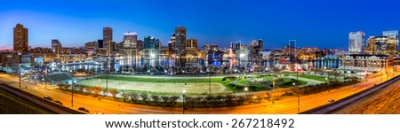 Baltimore skyline panorama at dusk, as viewed from Federal Hill - stock photo