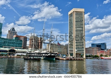 BALTIMORE, USA - JUNE 24, 2017: The historic Baltimore inner harbor on a warm summer day.