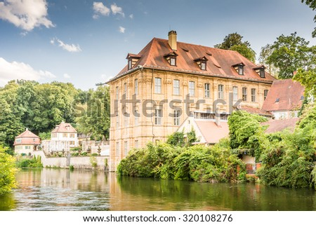 BAMBERG, GERMANY - SEPTEMBER 4: Villa Concordia in Bamberg, Germany on September 4, 2015.  The historic city center of Bamberg is a listed UNESCO world heritage site.  - stock photo