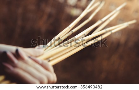 bamboo and hand,horizontal photo