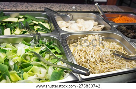 bamboo and soy sprouts buffet in Asian restaurant - stock photo