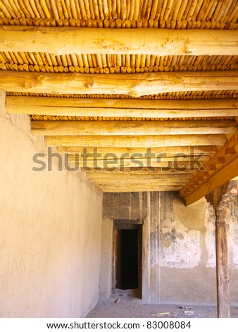 Bamboo and wooden ceiling wall in Leh Palace, Ladakh, India