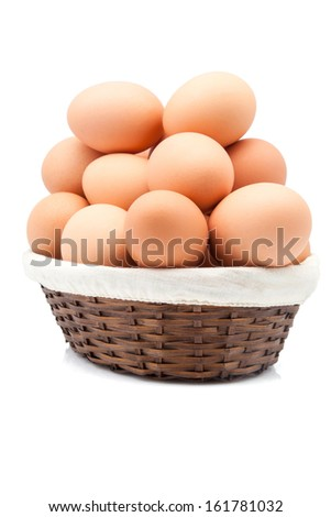 Bamboo basket full of brown eggs