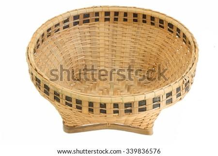 bamboo basket, handicraft weave texture natural - stock photo