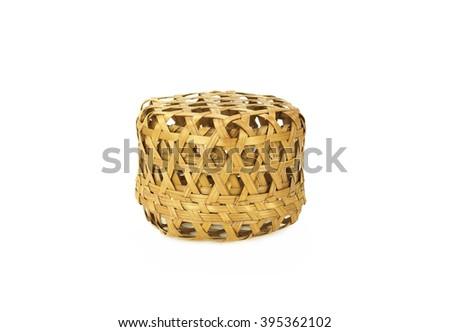 Bamboo basket isolated on white background - stock photo