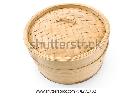 Bamboo basket steamer isolated on white