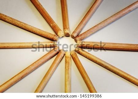 Bamboo chopsticks stacked - stock photo