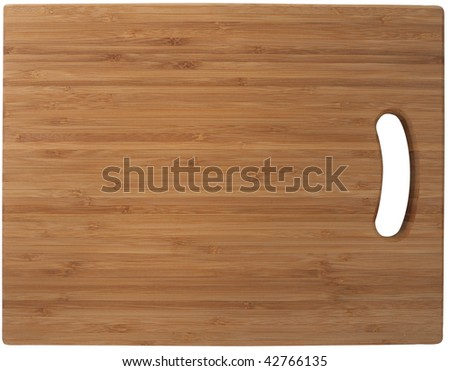 Bamboo cutting board. Isolated on white, with clipping path. - stock photo