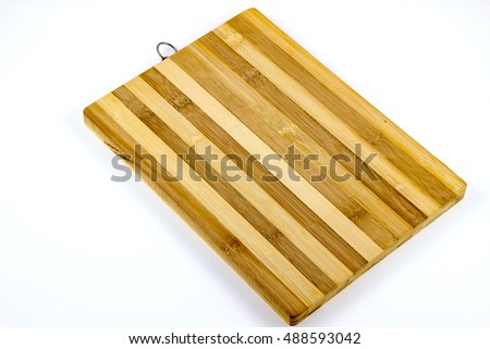 Bamboo cutting board wood texture on white background / Cutting board