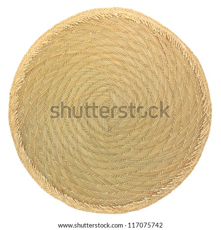 Bamboo food tray on white background isolated - stock photo