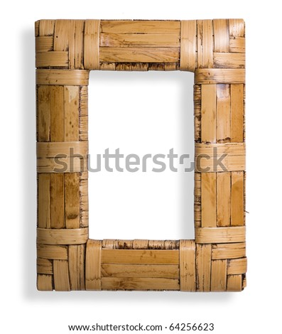 Bamboo frame isolated on the white - stock photo