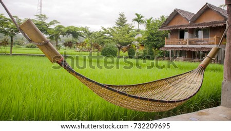 bamboo hammock beside green rice field with yellow flare light in morning mae hong son bamboo hammock beside green rice field stock photo 732209695      rh   shutterstock