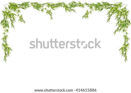 Bamboo leaves frame isolated on white background - stock photo
