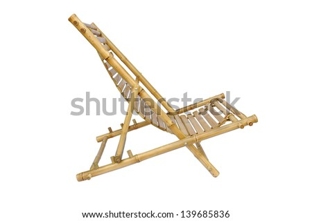 Bamboo lounge chair isolated on white background