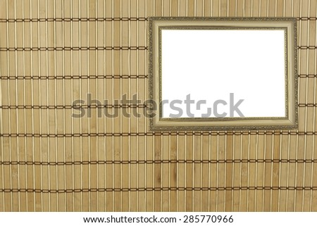 Bamboo mat as background. Detailed front view of the structure of a bamboo mat, abstract texture background composition with a picture frame for your text. - stock photo