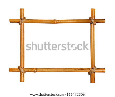Bamboo photo frame isolated on white background. Closeup - stock photo