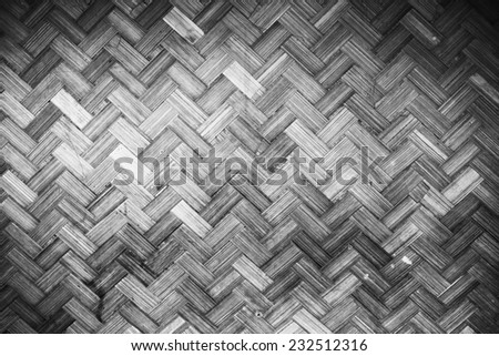 Bamboo rattan texture  and background in Black and White - stock photo