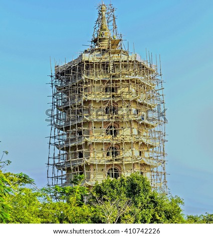 Bamboo scaffolding used for temple construction in Danang, Vietnam - stock photo