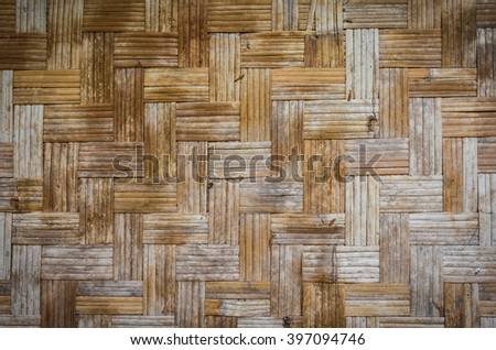 Bamboo skin stripped and woven in saw tooth pattern to make mat or wall tile.This is common in the countryside of Southeast Asia