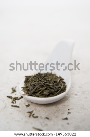 Bamboo Spoon Filled with Serving Size Green Tea Leaves