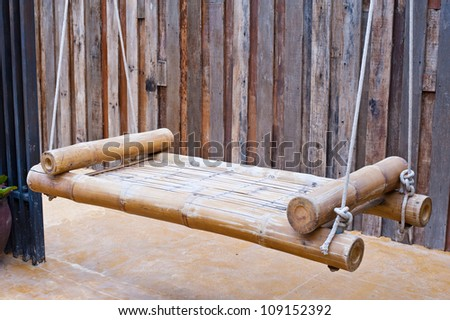 bamboo swing in house - stock photo