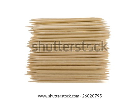 Bamboo toothpicks in a wum basket isolated on a white background