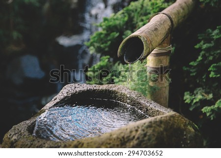 bamboo water fountain - stock photo