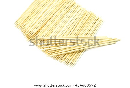 Bamboo wooden skewers  on white background, wooden  stick