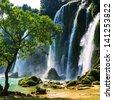 Ban Gioc - Detian waterfall in  Vietnam - stock photo