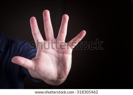 Ban hand. Number five in sign language - stock photo