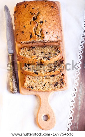 Banana and chocolate chips bread, sliced - stock photo