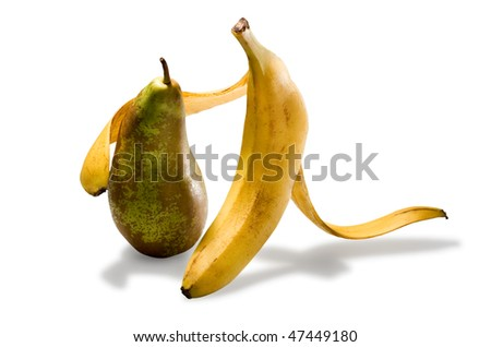 Banana and pear - stock photo