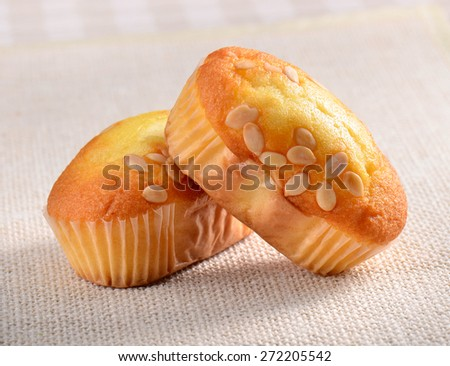 Banana cake in paper cup on Dining table  - stock photo