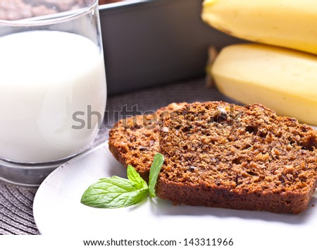banana cake with fresh banana and orange. home made cake. - stock photo
